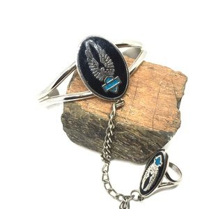 Angel wings black enamel turquoise cuff and rings
